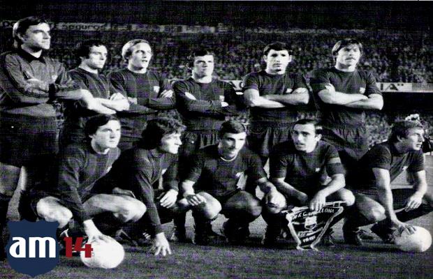 De pie: Artola, De la Cruz, Neeskens, Zuviría, Olmo y Migueli. Agachados, Sánchez, Heredia, Krankl, Asensi y Rexach.