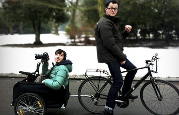 Matan Rochlitz and Ivo Gormley on their filming equipment.