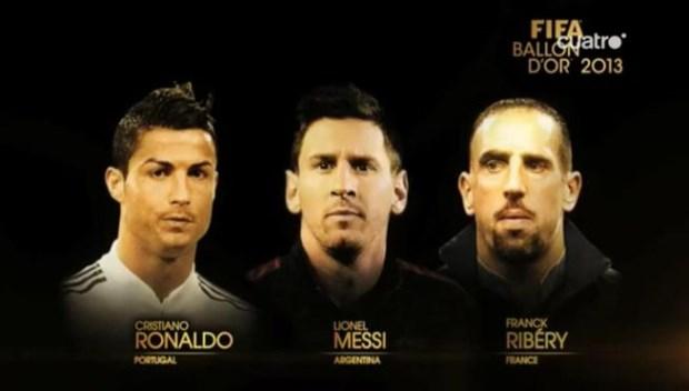 Los tres candidatos al Balón de Oro 2013. Foto: Cuatro.com