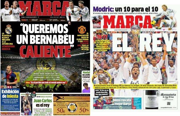 Portadas de Marca tras la final de la Copa del Rey ACB de 2013 (izquierda) y 2014.