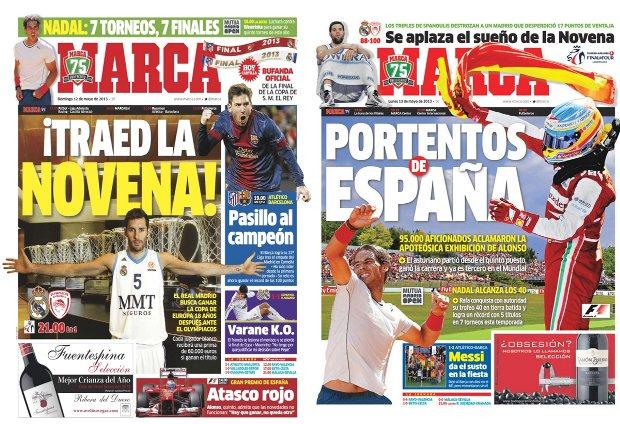 Portadas de Marca del día previo a la final de la Euroliga 2013 (izquierda) y del día siguiente.