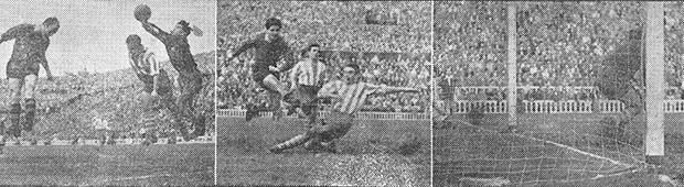 Instantáneas de los goles tercero, cuarto y quinto con los que el Mundo Deportivo abría la portada al día siguiente.