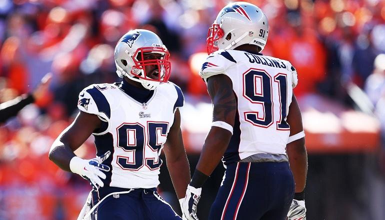 Los Patriots van a necesitar que Chandler Jones (95) y Jamie Collins (91) molesten a Luck para impedir que este conecte con sus múltiples armas en ataque.