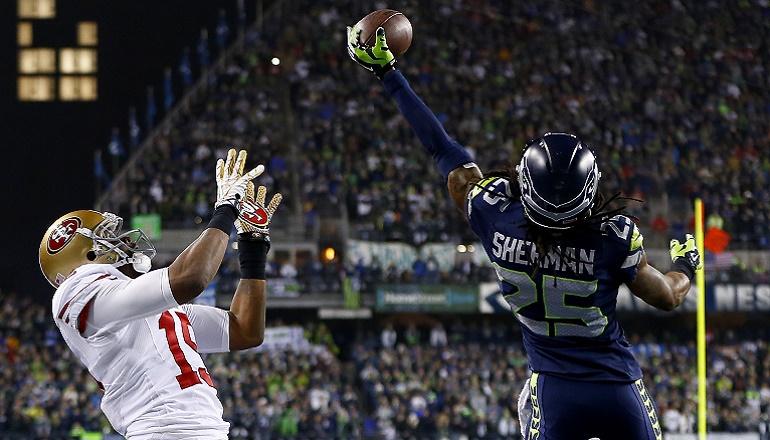 Así impidió Richard Sherman el pase a la Super Bowl de San Francisco por segundo año consecutivo (19/01/2014).